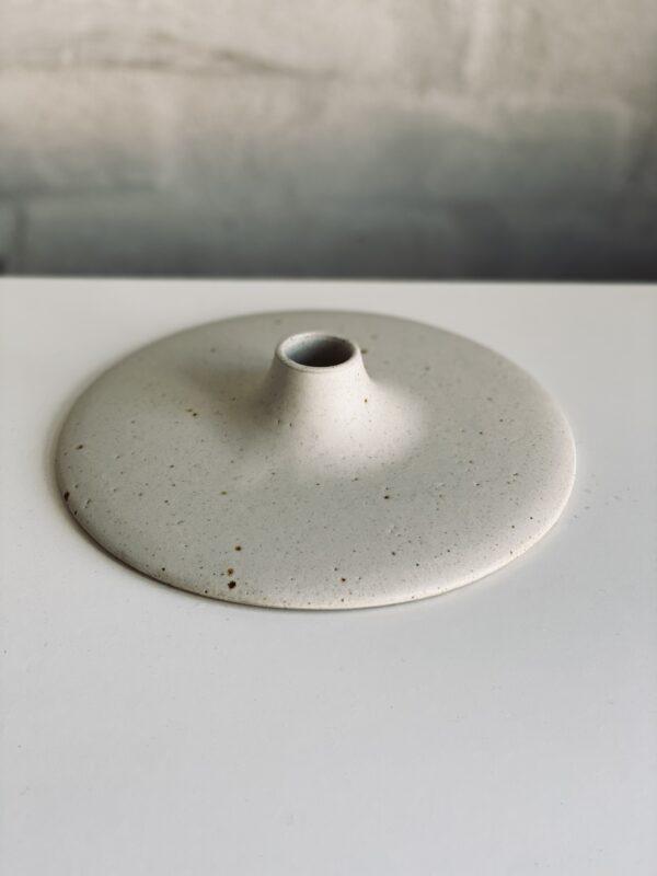 Flat candle holder white Viki Weiland Keramik